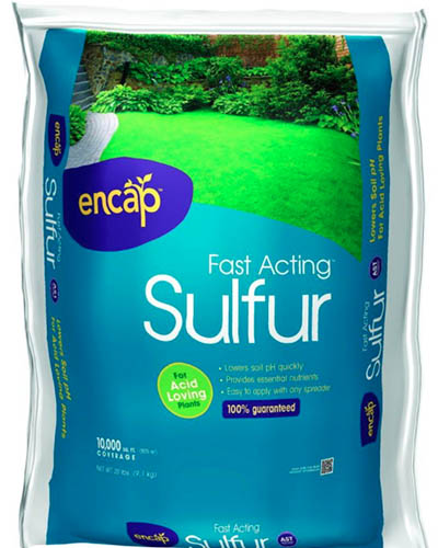 A close up square image of a sack of fast acting sulfur for the garden.