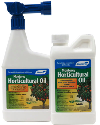 A close up vertical image of two bottles of Monterey Horticultural Oil on a white background.