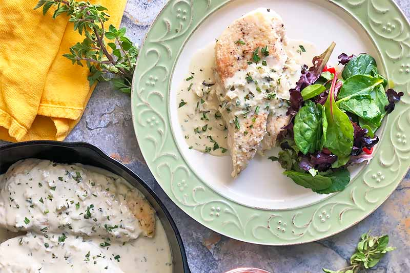 A top down horizontal image of a green and white plate with freshly cooked chicken in a mustard sauce with a side salad.