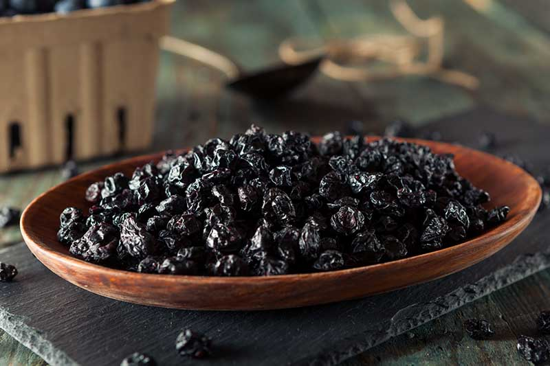 A close up horizontal image of a wooden plate set on a slate filled with dried fresh blueberries pictured on a soft focus background.