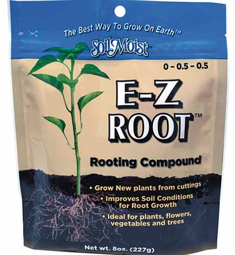 A close up square image of the packaging of E-Z Root Rooting Compound isolated on a white background.
