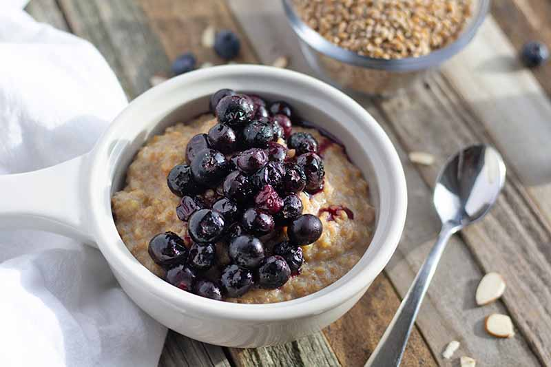 A close up horizontal image of a white bowl of einkorn porridge topped with fruit set on a wooden surface with a spoon to the left of the frame.
