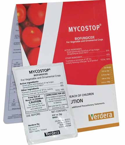 A close up square image of the packaging of Mycostop Biofungicide isolated on a white background.