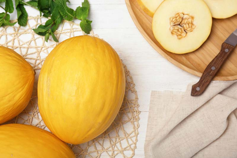 A top down horizontal image of orange melons to the right of the frame, and to the top left of the frame slices set on a wooden tray.