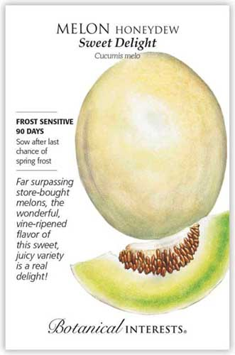 A close up vertical image of a seed packet of Cucumis melo 'Sweet Delight' with an illustration to the right of the frame and writing to the left.