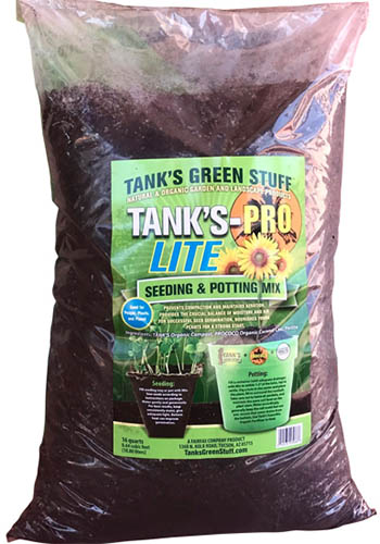 A close up vertical image of a plastic bag of Tank's Pro Lite Seedling and Potting Mix isolated on a white background.