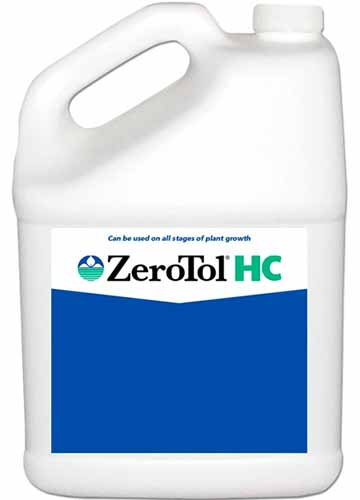 A close up square image of a white bottle of ZeroTol HC fungicide isolated on a white background.