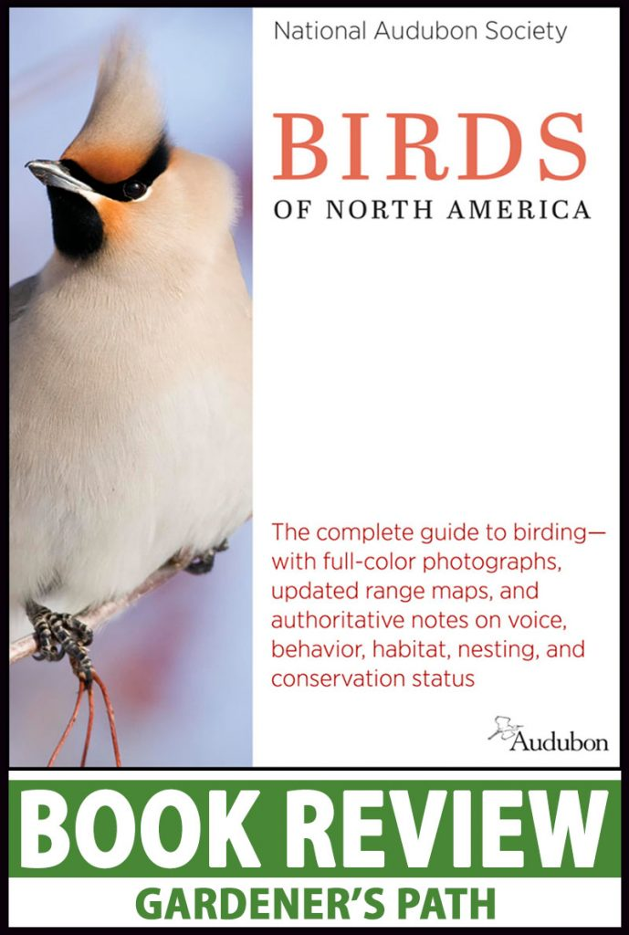 A close up vertical image of the cover of the book National Audubon Society Birds of North America with green and white printed text at the bottom of the frame.