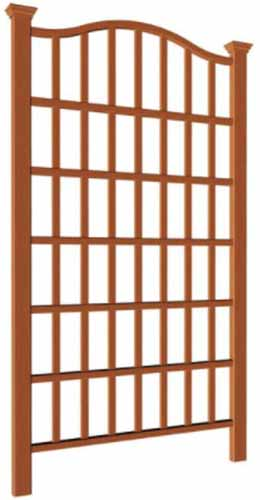 A close up vertical image of a composite cedar trellis isolated on a white background.