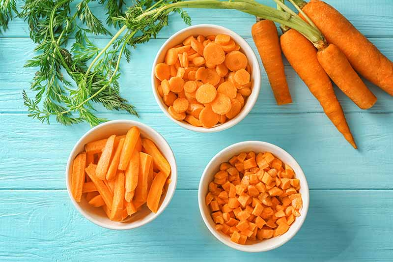 A close up horizontal image of different cuts of carrot in bowls set on a blue wooden surface.