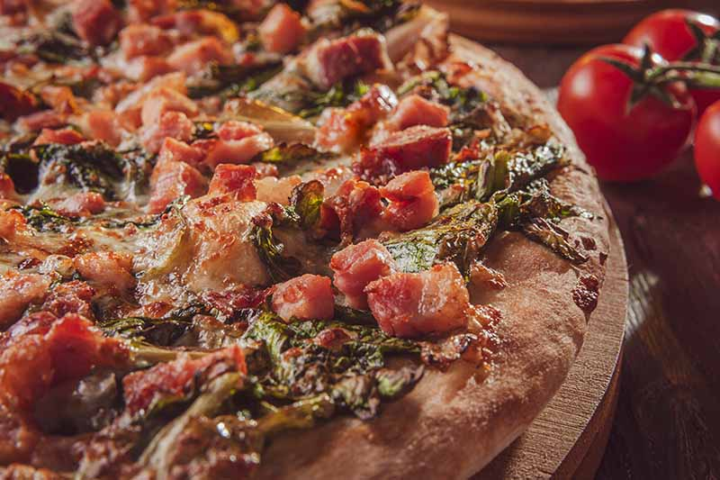 A close up horizontal image of a homemade pizza with tomatoes and herbs that's enough to make your mouth water and call up Domino's.