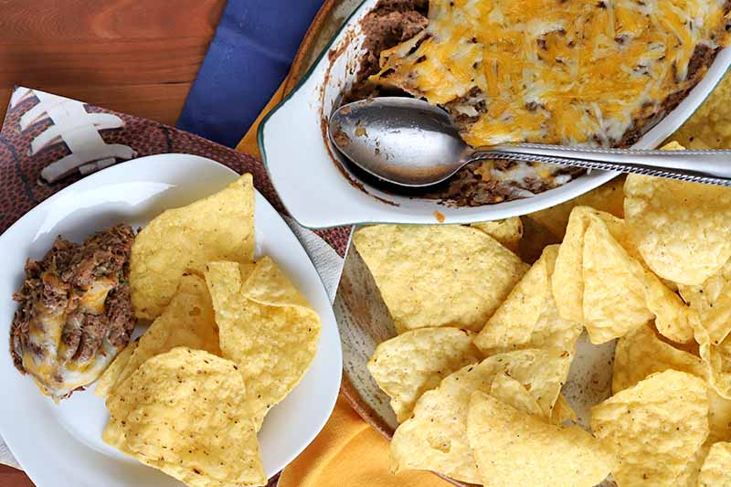 A close up horizontal image of a black bean jalapeno dip served with fresh corn chips.