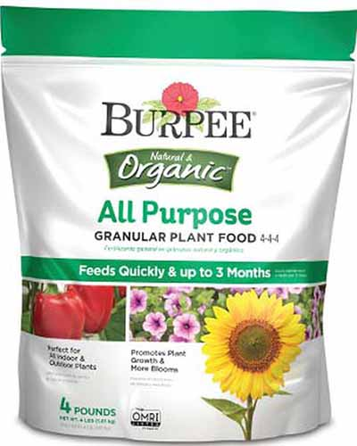 A close up vertical image of the packaging of Burpee's All Purpose Granular Plant Food isolated on a white background.