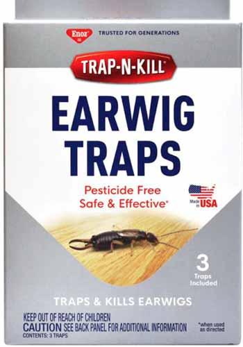 A close up vertical image of the packaging of Trap-N-Kill Earwig Traps.
