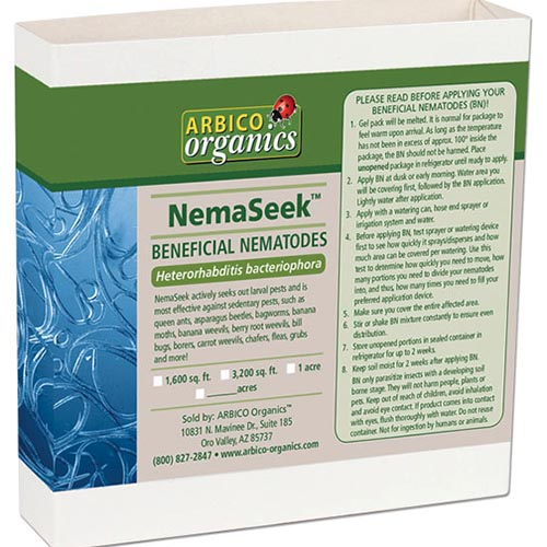 A close up square image of the packaging of beneficial nematodes (Heterorhabditis bacteriophora) isolated on a white background.