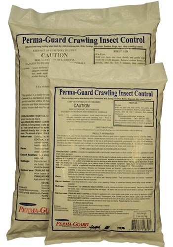 A close up vertical image of two plastic bags of Perma-Guard Crawling Insect Control isolated on a white background.