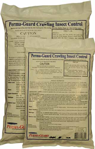 A close up vertical image of the plastic packaging of Perma-Guard Crawling Insect Control isolated on a white background.