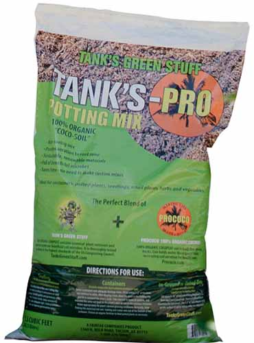 A close up vertical image of the packaging of Tank's-Pro Potting Mix isolated on a white background.