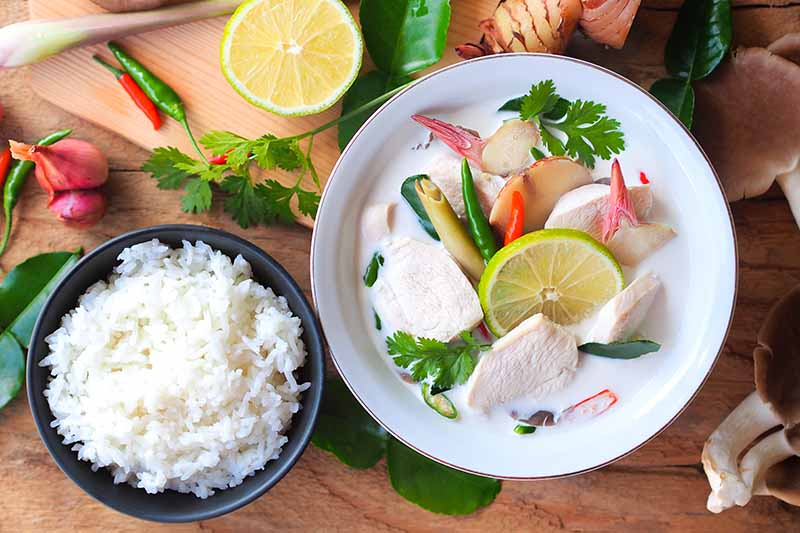 A close up top down horizontal image of a white bowl with freshly prepared Thai chicken soup set on a wooden surface with a bowl of rice to the left of the frame and herbs scattered around.