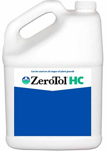 A close up square image of a plastic bottle of ZeroTol HC isolated on a white background.