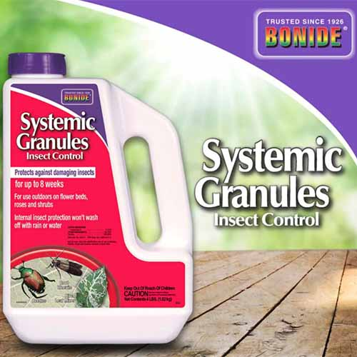 A close up square image of the packaging of Bonide Systemic Granules Insect Control showing a plastic bottle on the left of the frame and text to the right.