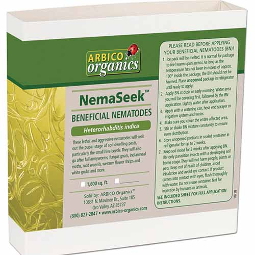 A close up square image of the packaging of NemaSeek Hi isolated on a white background.