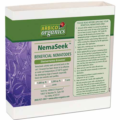A close up square image of the packaging of NemaSeek SK beneficial nematodes isolated on a white background.