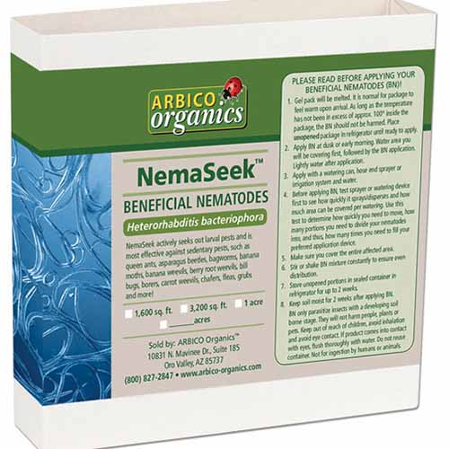 A close up square image of the packaging of NemaSeek Hb isolated on a white background.