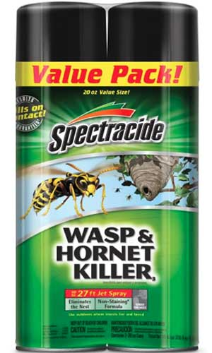 A close up vertical image of a two pack of Spectracide Wasp and Hornet Killer spray isolated on a white background.
