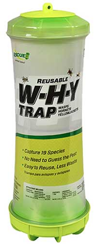 A close up vertical image of a Reusable W-H-Y trap for catching pest insects.