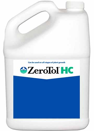 A close up square image of a plastic bottle of ZeroTol HC for treating fungal diseases in plants, isolated on a white background.