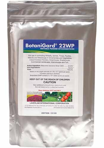 A close up vertical image of the packaging of BotaniGard 22 WP isolated on a white background.