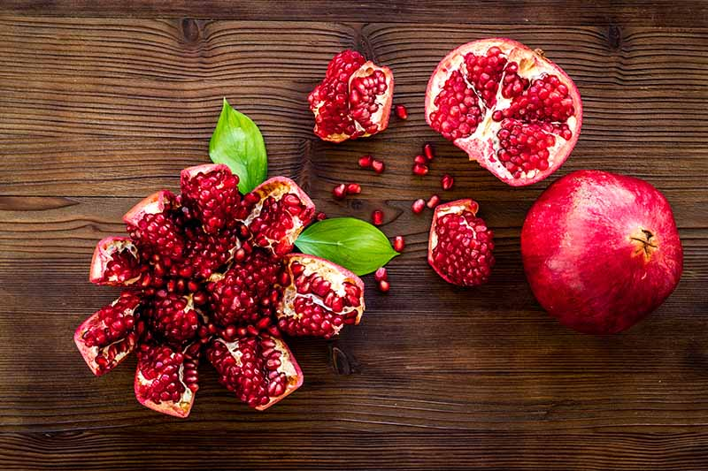A close up horizontal image of a whole and cut open pomegranate set on a wooden surface.