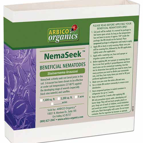 A close up square image of the packaging of NemaSeek SF Beneficial Nematodes isolated on a white background.