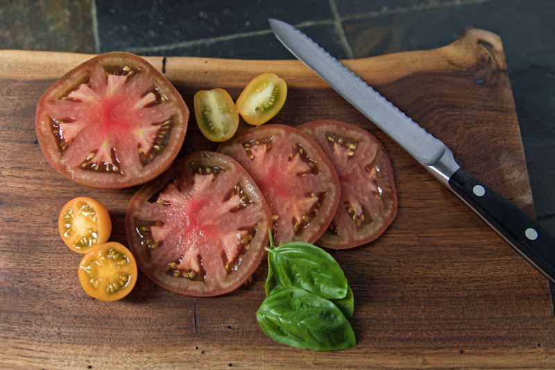 A close up horizontal image of sliced heirloom tomatoes on a wooden chopping board with a knife to the right of the frame.