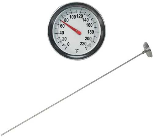A close up square image of a soil thermometer isolated on a white background.