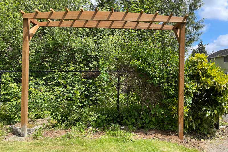 A close up horizontal image of a large wooden pergola set in the garden.