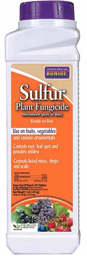 A close up vertical image of the packaging of Bonide Sulfur Plant Fungicide isolated on a white background.