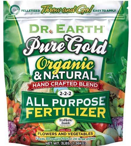 A close up square image of a package of Dr Earth Pure Gold Organic and Natural All Purpose Fertilizer.