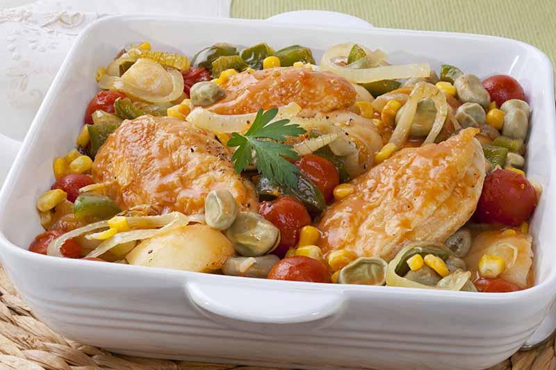A close up horizontal image of a white dish of Brunswick stew.