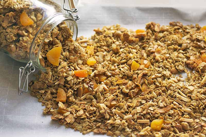 A close up horizontal image of homemade granola spilling out of a jar onto a white surface.