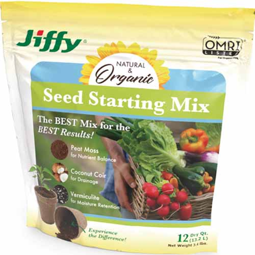 A close up square image of a bag of Jiffy Seed Starting Mix isolated on a white background.