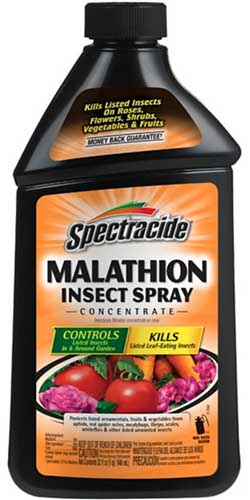 A close up vertical image of the packaging of Spectracide Malathion Insect Spray isolated on a white background.