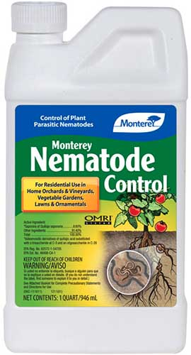 A close up vertical image of a bottle of Monterey Nematode Control isolated on a white background.