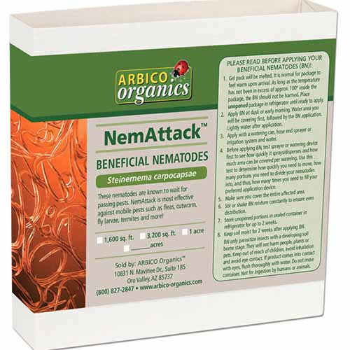 A close up square image of the packaging of NemAttack beneficial nematodes isolated on a white background.