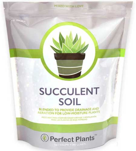 A close up square image of the packaging of Perfect Plants Succulent Soil isolated on a white background.