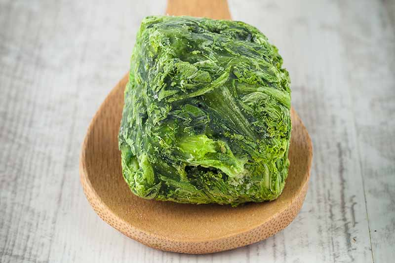 A close up horizontal image of a frozen cube of turnip greens on a wooden spoon set on a white surface.