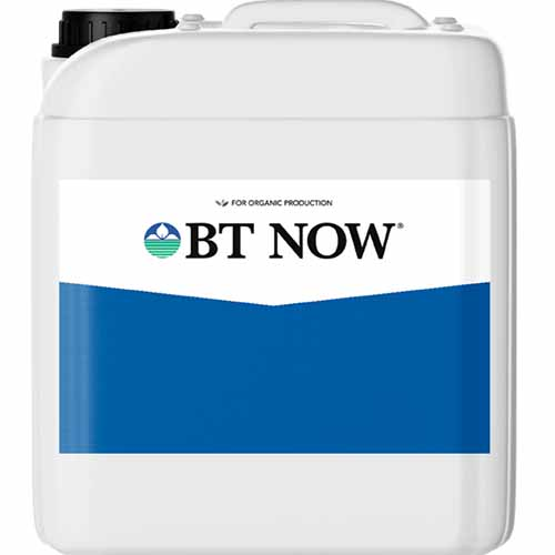 A close up square image of a bottle of BT Now plant spray isolated on a white background.