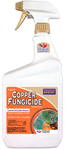 A close up vertical image of a spray bottle of Bonide Copper Fungicide isolated on a white background.