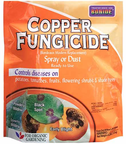 A close up square image of a packet of Bonide Copper Fungicide isolated on a white background.